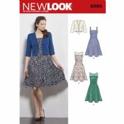 6390 New Look Pattern: Womans Dress with Full Skirt and Bolero